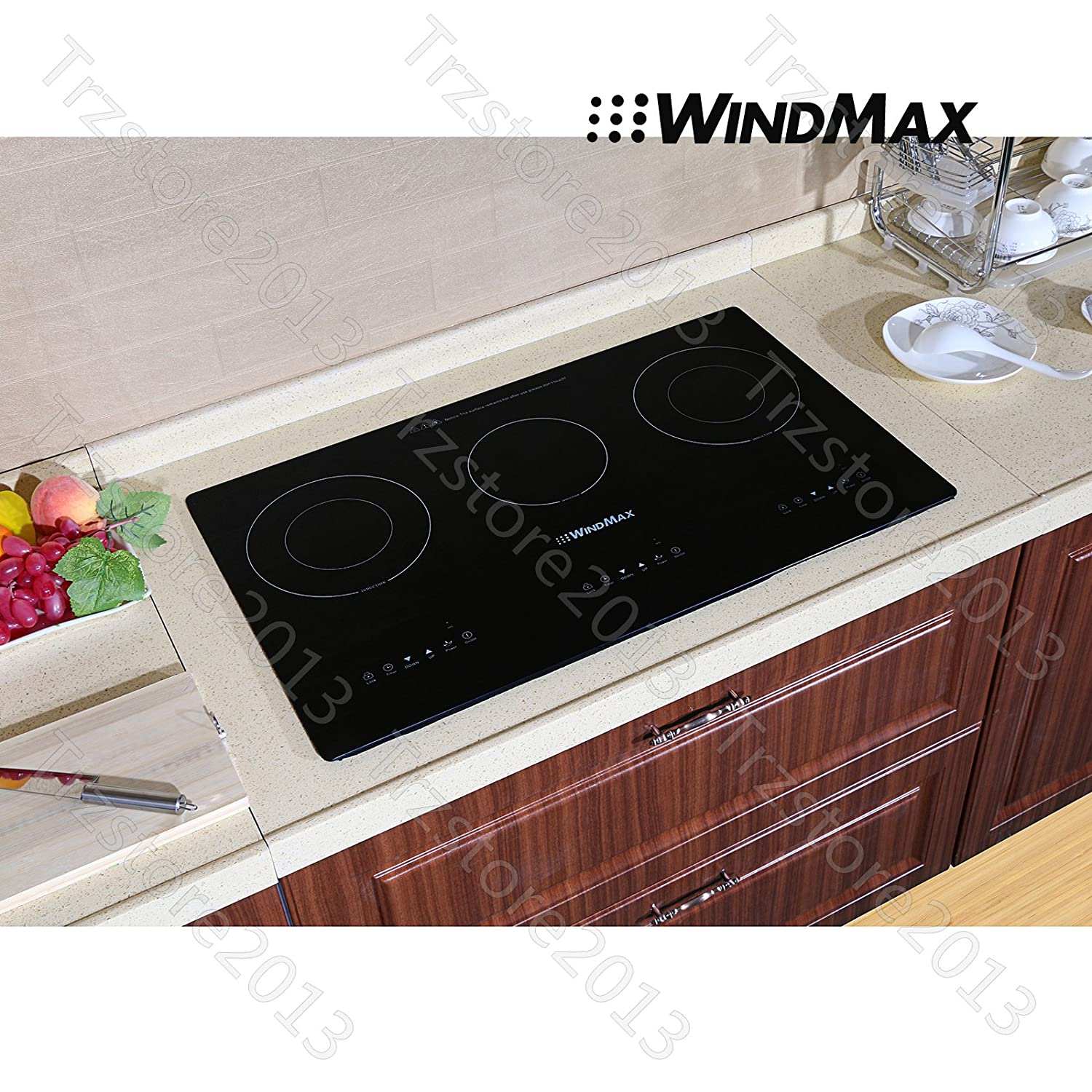 "WindMax® Hot 29.5"" Glass Plate Induction Hob 3 Burner Triple Stove Built-in Cooktops 240V"