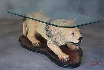 Designer Couchtisch Löwe Wohnzimmertisch Tisch Glastisch Luxusmöbel