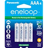 Panasonic BK-4MCCA4BA eneloop AAA 2100 Cycle Ni-MH Pre-Charged Rechargeable Batteries, 4 Pack (Color: White, Tamaño: 4-Pack)