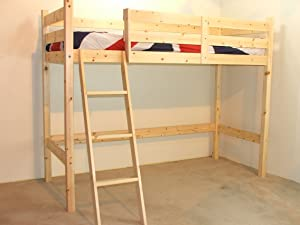 Loft bunkbed   wooden 2ft 6 small Single High Sleeper   Solid Natural Pine   FAST DELIVERY       Customer review and more information