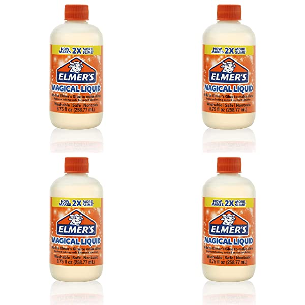 Elmer's Slime Activator   Magical Liquid Slime Activator Solution, Updated Formula for Twice as Much Slime, (8.75 fl oz) Pack of 4