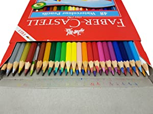 Faber Castell WaterColor Pencils with Sharpener and Brush, 48  WaterColored Pencils set (Color: 48 color)