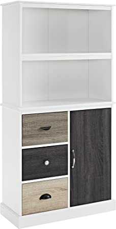 Altra Furniture Mercer Storage Bookcase with Multicolored Door and Drawers, White Finish