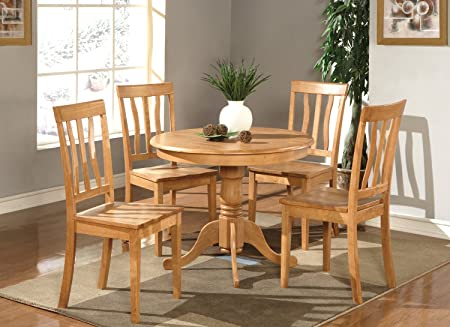 East West Furniture ANTI5-OAK-W 5-Piece Kitchen Table and Chairs Set, Oak Finish