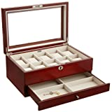 Mele & Co. Christo Glass Top Wooden Watch Box Walnut (Color: Walnut, Tamaño: 14 x 9 x 6)