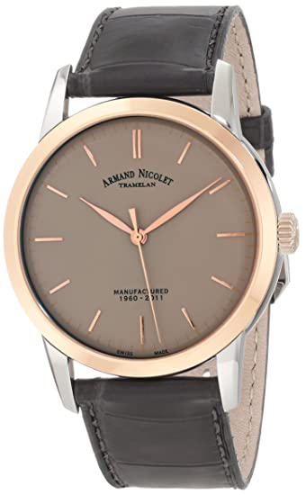 """Armand Nicolet Men's 8670A-GR-P670GR1 L10 """"Limited Edition"""" Stainless Steel Mechanical Watch with Leather Band"""