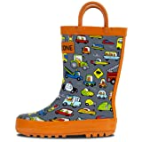 LONECONE Rain Boots with Easy-On Handles in Fun Patterns for Toddlers and Kids, Rush Hour, Toddler 10
