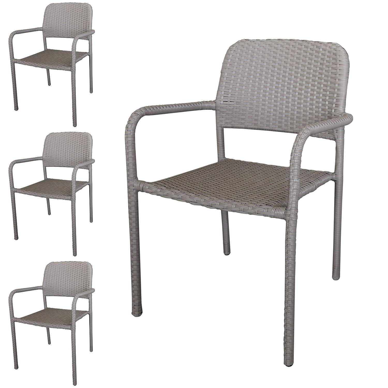 4 Stück Stapelstuhl Rattanstuhl Gartenstuhl stapelbarer Rattansessel Polyrattanbespannung in Taupe – Gartenmöbel Gartensitzmöbel jetzt kaufen