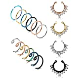 LOYALLOOK 20G 16PCS Stainless Steel Fake Septum Ring Nose Hoop Piercing Clicker Ring Septum Retainer Set Body Jewelry Piercing (Color: 16PCS)