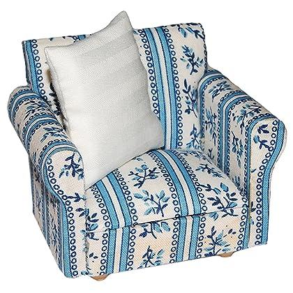 Miniatur Sessel mit Kissen – für Puppenstube Maßstab 1:12 – blau & weiß gemustert – Puppenhaus Puppenhausmöbel Sofasessel Wohnzimmer Klein – für Wohnzimmerlandschaft – Puppensofa – Möbel Wohnlandschaft – Miniatur Diorama online bestellen