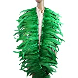 7 Color 2 Yard Long,10-12 inch Height Rooster Coque Feather Fringe Trim, for Skirt Dress Costume Roster Feather Trim (Green) (Color: green, Tamaño: 10-12 INCH, 2 YARD LONG)