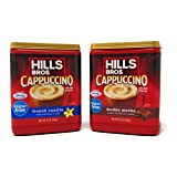 Hills Bros. Cappuccino Sugar Free (2 Pack) 1 French Vanilla and 1 Double Mocha 12 Ounces Each (Color: Red)