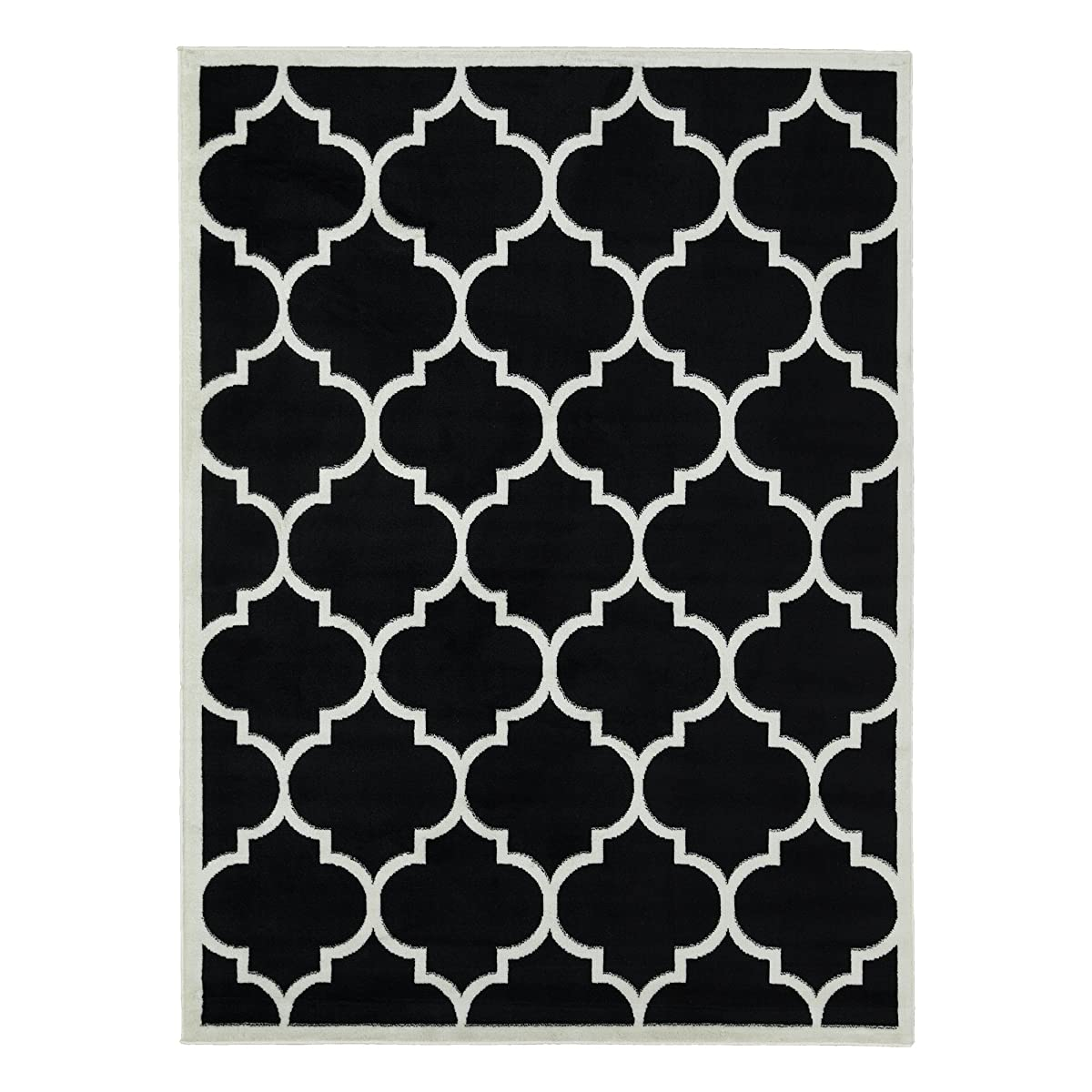 "Ottomanson Paterson Collection Contemporary Moroccan Trellis Design Lattice Area Rug, 710"" X 910"", Black"