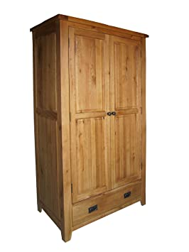 BALMORAL Natural Oak Rustic Farmhouse 2 Door Large Wardrobe With Ring Handle Drawer