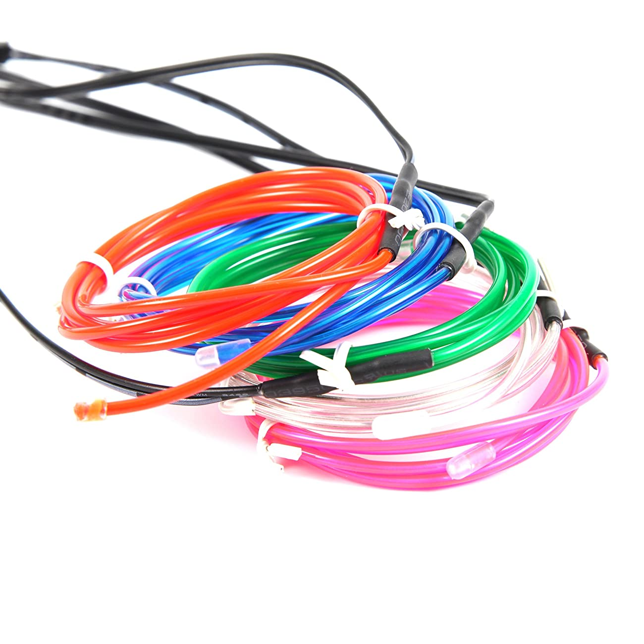 Exlight 5 X 1 Metre Neon Light El Wire- New Drive Electroluminescent Multiple Color-Set of 5(Blue, Green, Red, Pink, and White) 5