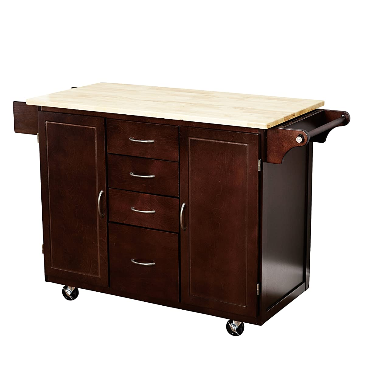 target marketing systems two toned country cottage rolling kitchen cart with 4 drawers 2 cabinets - Kitchen Cart Target