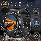 Smart Watch,Bluetooth Smartwatch Touch Screen Wrist Watch with Camera/SIM Card Slot,Waterproof Phone Smart Watch Sports Fitness Tracker Compatible Android Phone iOS Phones (V8-Black) (Color: V8-Black)