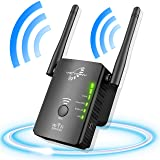VICTONY WiFi Repeater Wireless Signal Booster, 2.4 & 5GHz Dual Band WiFi Extender with Ethernet Port (Color: Black-A)