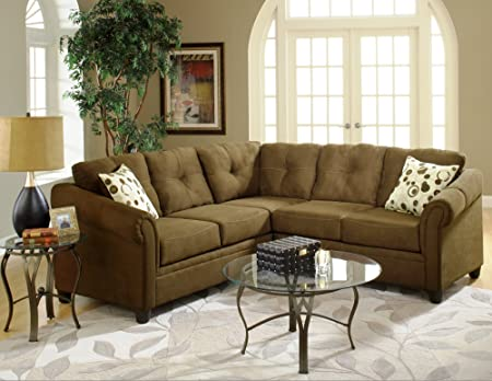 Chelsea Home Furniture Lena 2-Piece Sectional, Sienna Chocolate with Spheres Mocha Pillows