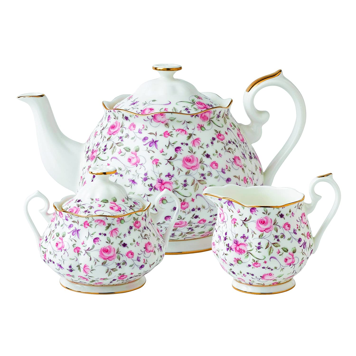 Royal Albert New Country Roses Rose Confetti Teaset, 3-Piece