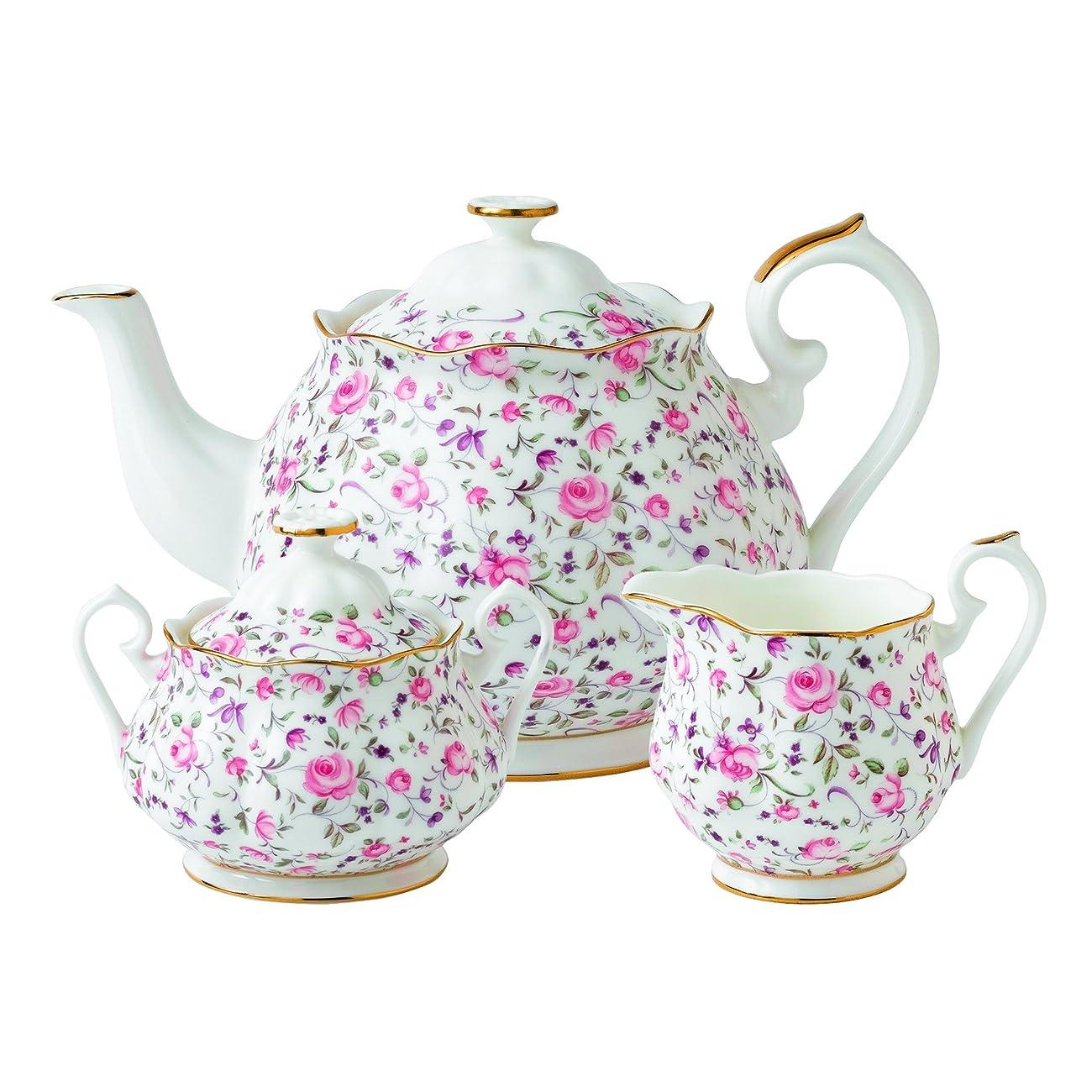 Royal Albert Rose Confetti Formal Vintage Teapot, White 2