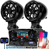 GoldenHawk USA Motorcycle Waterproof Bluetooth Wireless Speaker 7/8 - 1.25 in. Handlebar Mount MP3 Music Player Sound Audio Stereo Amplifier System ATV UTV w/ 3.5mm AUX IN, USB 2.0, micro SD, FM Radio