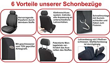 BC-B Schwarz Universal Auto schonbezug Set für MERCEDES SPRINTER I II III