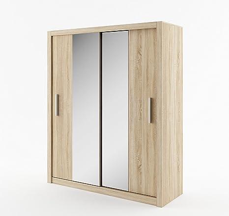 Schwebeturenschrank Kleiderschrank ID-03 IDEA 180 cm Garderobe Schrank mit Spiegel (sonoma eiche)