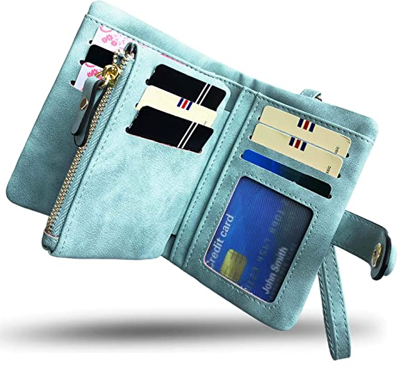 Small Leather Womens Wallet With Coin Pouch And Credit Card Holder RFID Blocking