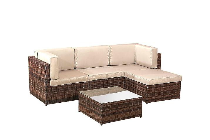 Divano angolare in rattan, set di mobili da giardino, marrone - 5 pezzi
