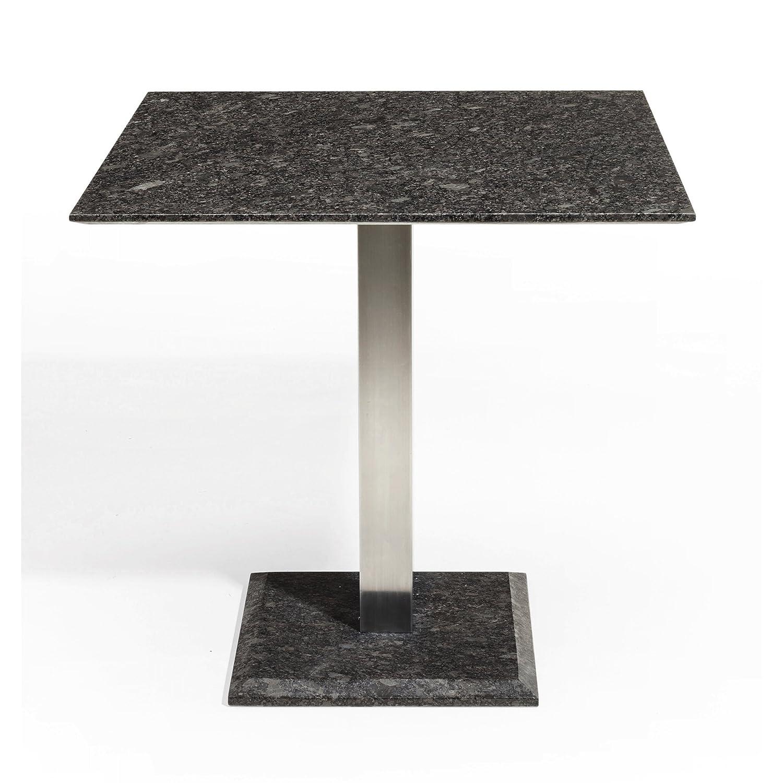 Studio 20 Edam Gartentisch 90 x 90 x 75 cm Outdoortisch Granittisch Edelstahl Tischplatte Pearl grey satiniert