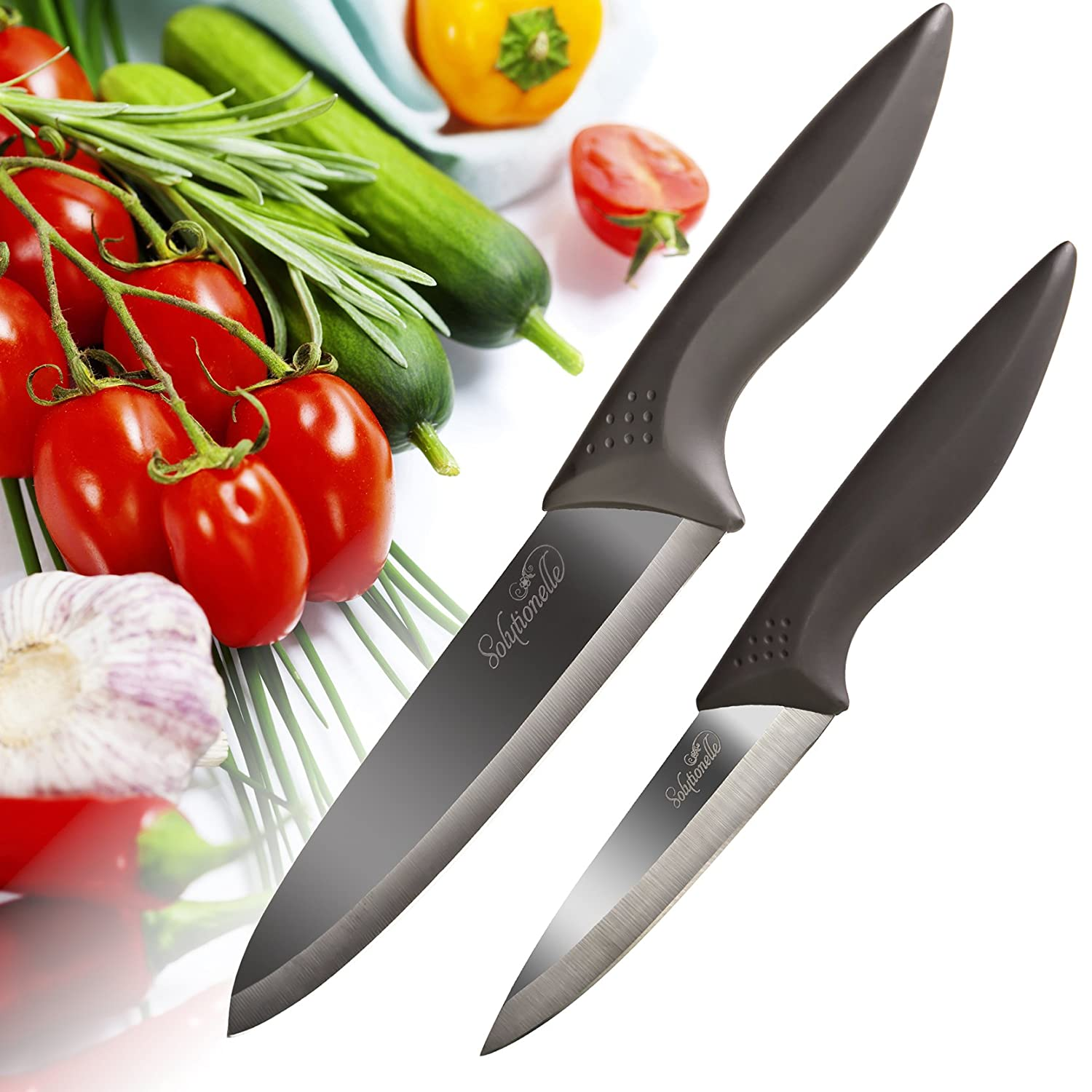 Ceramic Knife Gift Set, 2pc + Sheaths - Chef And Paring Knives With Black Mirror Finish Blades