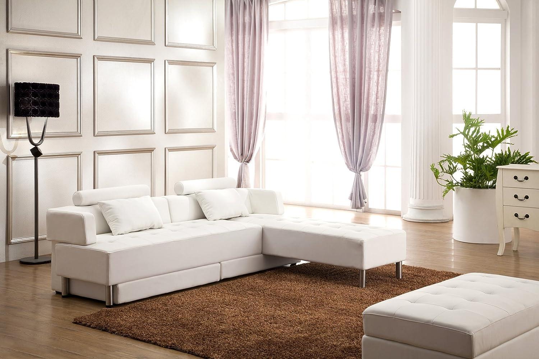 Designer Eckcouch Couch Sofa Wohnlandschaft Julia Weiss 5 in 1 Couchtisch günstig kaufen