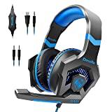 Deruitu Gaming Headset, Surround Sound Over-Ear Headphones with Noise Cancelling Mic, Gaming Headphone Compatible for PC PS4, Xbox One, Mac, iPad, Nintendo Switch Games (Color: Black)
