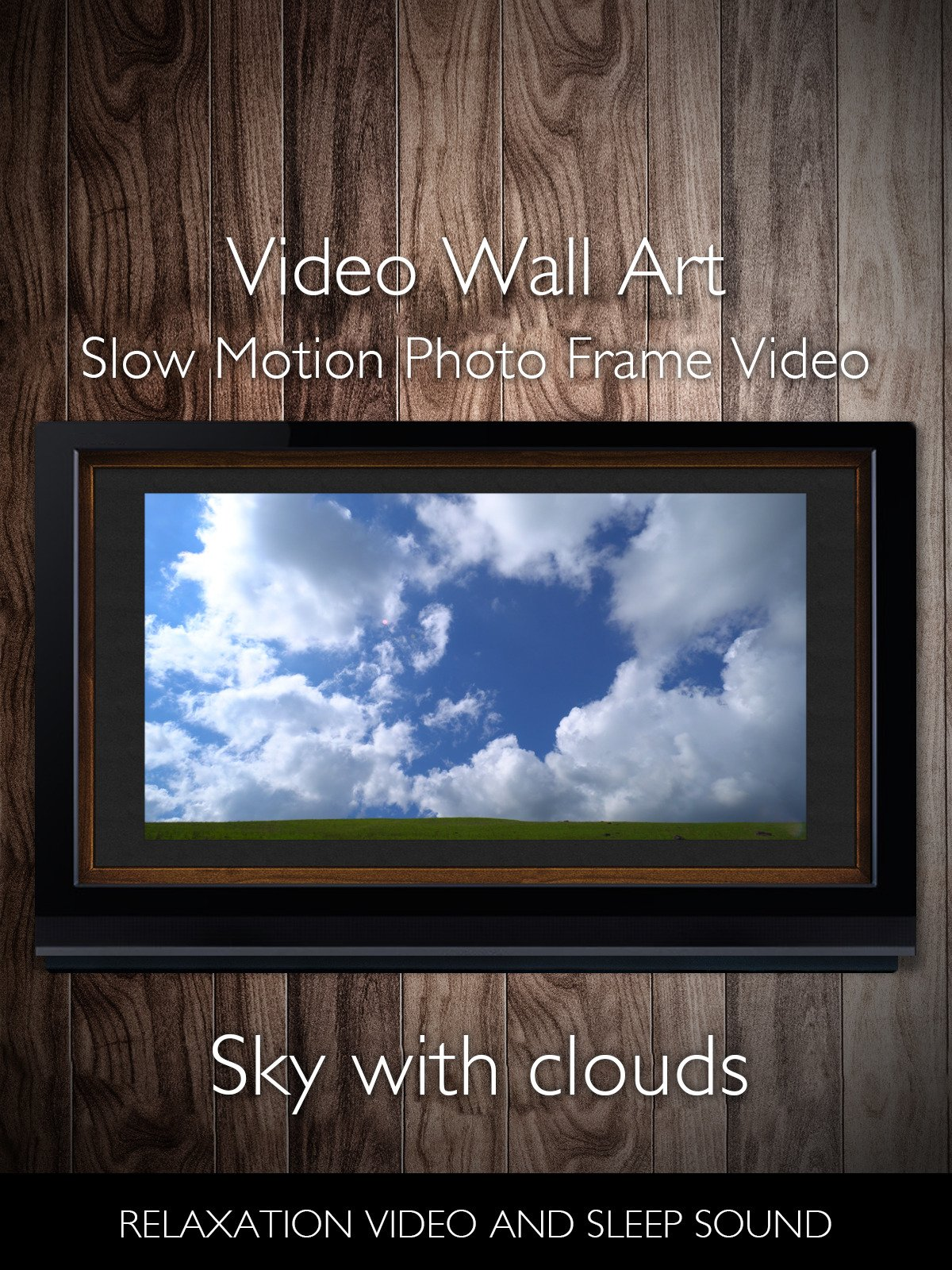 Video Wall Art Slow Motion Sky with Clouds Photo Frame Video Relaxation Video and Sleep Sound