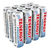 Tenergy Premium Rechargeable AA Batteries, High Capacity 2500mAh NiMH AA Battery, AA Cell Battery, 12-Pack (Tamaño: 12 pcs)