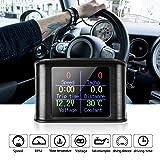 Mrcartool M1 OBD Car Hud Speedometer Automotive Head Up Display Digital Meter & Alarm Fault Code Water Temperature Gauge Digital Voltage Support 12V OBDII J1850 Diesel Gasoline Vehicles