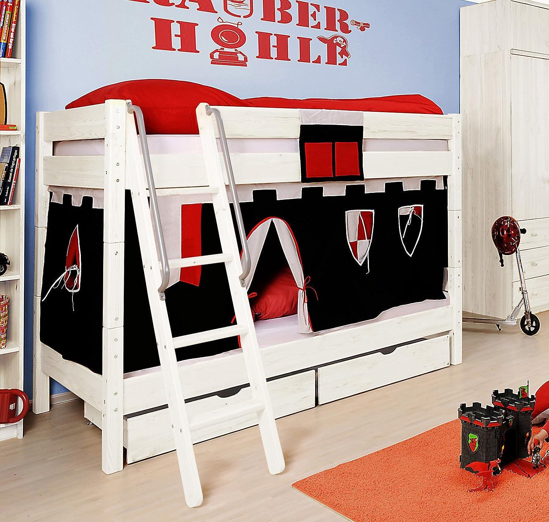 SAM® Etagenbett für Kinder Ritter II weiß aus massiv Holz Variante Basisbett 2 x Sicherheitsrollrost und 1 x Vorhang in schwarz rot (auch in anderen Zusammenstellungen möglich) mit Schrägleiter Leiter schräg Lieferung erfolgt zerlegt mit einem Paketdienst jetzt bestellen
