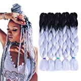 Afro Jumbo Braids Hair Extensions 5-pack 2 Tone & 3 Tone Ombre Crochet Braiding Hair High Temperature Synthetic Fiber for Twist Hair 24inch 100g/pack (Black-Silver White 28#) (Color: Black-Silver white 28#)