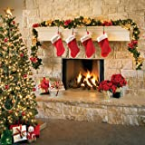 AIIKES 8x8FT Christmas Fireplace Backdrop for Christmas Tree Sock Gift Photography Background Xmas Party Supplies Party Decorations Pictures Banner Photo Studio Booth Props 11-712 (Color: 11-712 8x8FT, Tamaño: 8x8FT)