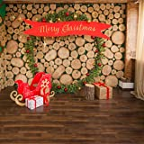 AIIKES 10x10FT Merry Christmas Photography Backdrops Christmas Wreath Gifts Wood Floor Photo Background for Xmas Party Supplies Party Decorations Pictures Banner Photo Studio Booth Props 11-716 (Color: 11-716 10x10FT, Tamaño: 10x10FT)