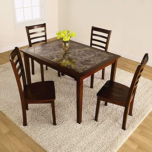 5 Piece Faux Marble Rectangular Contemporary Modern Dining Table Set with Matching High Back Wood Chiars That Fit Well with Any Decor. Give Your Kitchen or Formal Dining Area a Makeover That Wont Break the Bank!