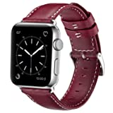 OUHENG Compatible with Apple Watch Band 42mm 44mm, Genuine Leather Band Replacement Compatible with Apple Watch Series 4 Series 3 Series 2 Series 1 (42mm 44mm) Sport and Edition, Red (Color: Red Band, Tamaño: 42 mm)
