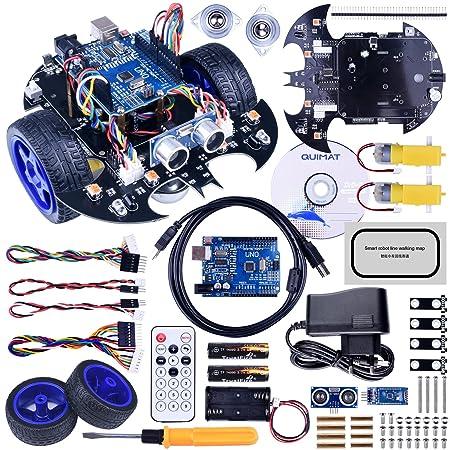 Quimat Arduino Véhicules Robot Voiture Kit avec Deux Roues Motrices,UNO R3 Board, Link Cruising Module, Ultrasonic Capteur et Bluetooth Remote Control, Télécommande et éducative pour Ados et Adultes