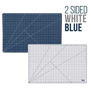 U.S. Art Supply 24 x 36 WHITE/BLUE Professional Self Healing 5-6 Layer Double Sided Durable Non-Slip PVC Cutting Mat Great for Scrapbooking, Quilting, Sewing and all Arts & Crafts Projects (Color: White/Blue, Tamaño: 24 x 36)