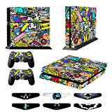 Skins for PS4 Controller - Decals for Playstation 4 Games - Stickers Cover for PS4 Console Sony Playstation Four Accessories PS4 Faceplate with Dualshock 4 Two Controllers Skin - Doodle (Color: Doodle)