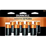 Duracell - CopperTop C Alkaline Batteries with recloseable package - long lasting, all-purpose C battery for household and business - 8 count (Color: Black, Tamaño: 8 count)