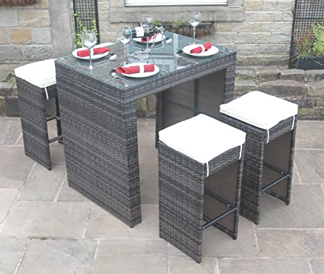 Alle Wetter braun Rattan Outdoor Gartenmöbel 5-teiliges Bar-Set
