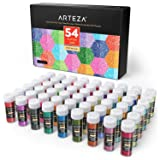 ARTEZA Fine Glitter, Set of 54 Colors, Shaker Jars (0.34oz/9.6 g) Glow Under UV Black Light, Extra Fine, All Purpose for Body, Face, Slime, Crafts (Tamaño: 54 Jars (0.34oz/9.6 g))