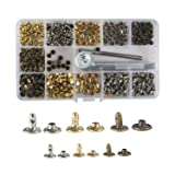 Waloden 240 Set Leather Rivets 3 Sizes Single Cap Rivets Metal Leather Rivets with 3 Pieces Tool Kits for Leather Craft Repairs Decoration (Color: Gold)